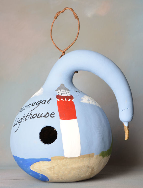 Barnegat Light House Painted Gourd Bird House