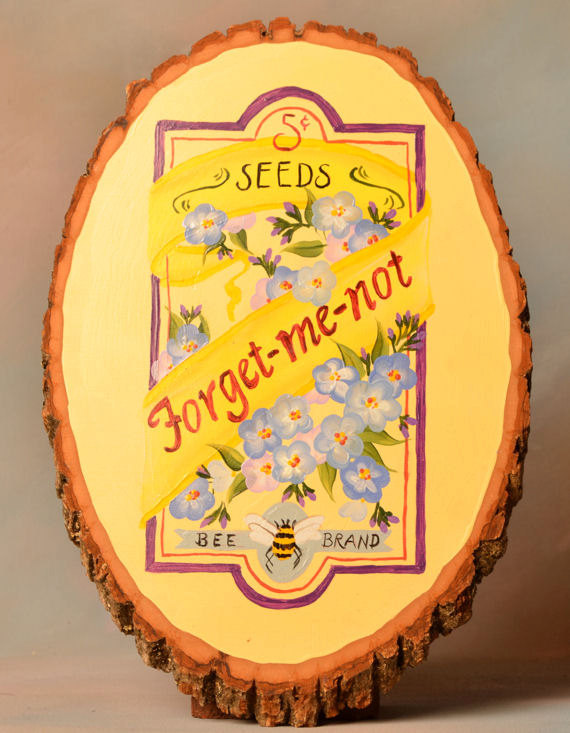 Forget-me-not flower seed package wood plaque