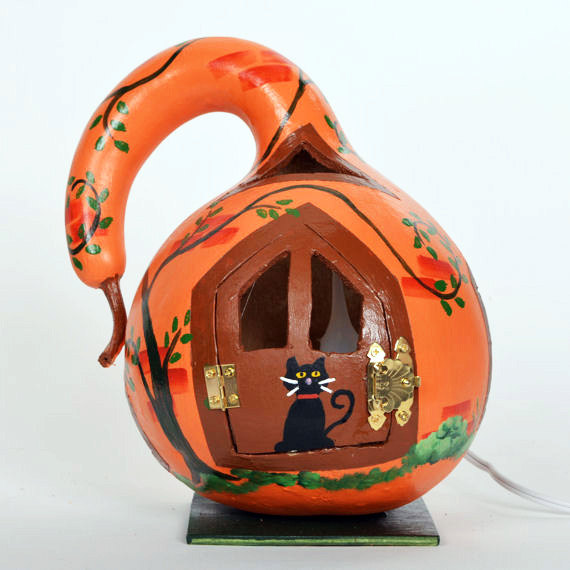 Halloween gourd house and black cat with electric light, decorative gourd art