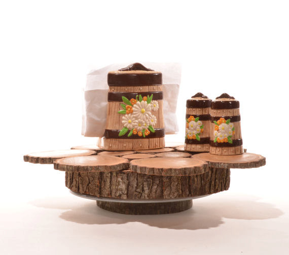 Rustic 13 inch log slice lazy susan